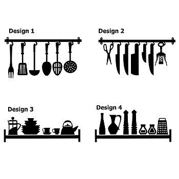 Kitchen Utensils And Shelf Wall Stickers